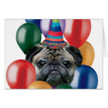 Cão do Pug do feliz aniversario Cartão Comemorativo