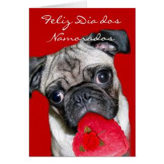 Cão do pug dos namorados do dos Namorados do Cartão Comemorativo