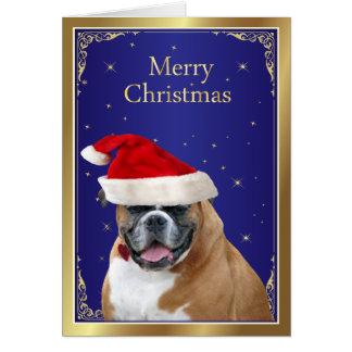 Cão do pugilista no cartão de Natal vermelho do