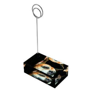Cão do pugilista suporte para cartoes de mesa