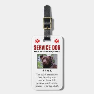 Cão do serviço - crachá exigido acesso total etiqueta de bagagem