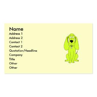 Cão do verde limão. Desenhos animados bonitos do c Modelo De Cartões De Visita