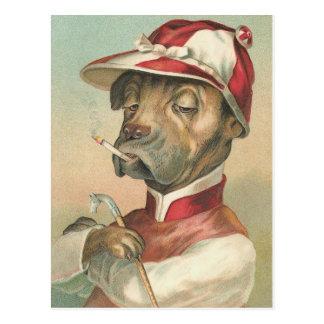 """""""Cão do vintage do jóquei de fumo"""" Cartoes Postais"""