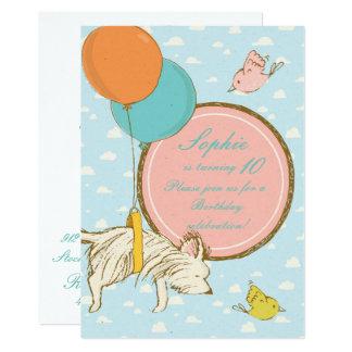 Cão do vôo e convite do aniversário das crianças