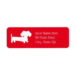 Cão do Wiener do Dachshund na etiqueta de endereço
