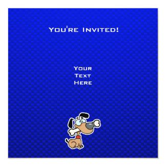 Cão dos desenhos animados; Azul Convite Quadrado 13.35 X 13.35cm