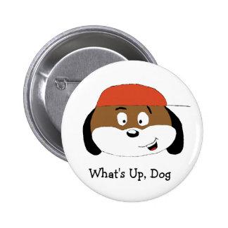 Cão dos desenhos animados com boné de beisebol bóton redondo 5.08cm