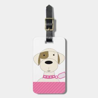 Cão dos desenhos animados com colar cor-de-rosa tag de bagagem