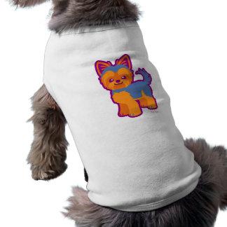 Cão dos desenhos animados de Yorkie do cabelo curt Camiseta Para Caes