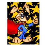 Cão dos desenhos animados do super-herói cartões postais