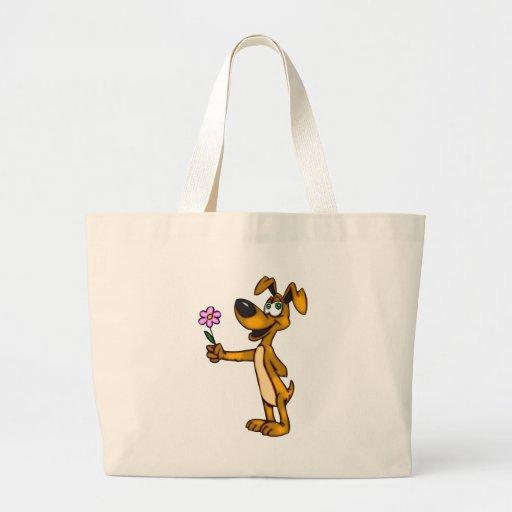 Cão dos desenhos animados e presente da flor bolsa para compras