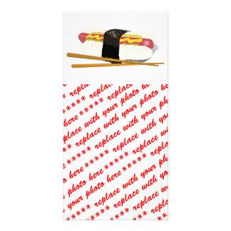 Cão e Chopsticks do sushi Cartão Com Foto