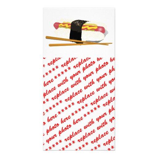 Cão e Chopsticks do sushi Cartões Com Fotos Personalizados