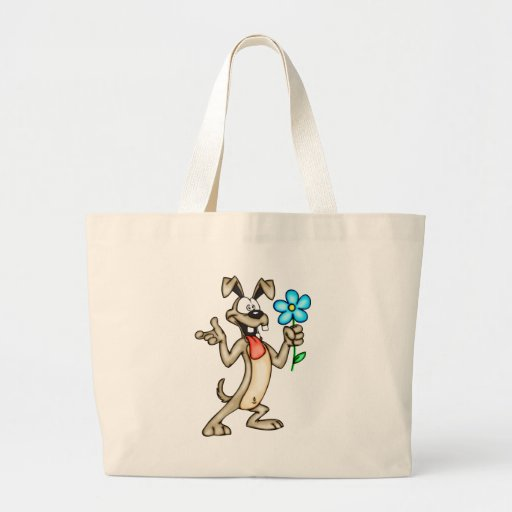 Cão e flor dos desenhos animados bolsas para compras