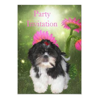 Cão e flores de Shih Tzu do convite