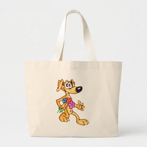 Cão e flores dos desenhos animados bolsa