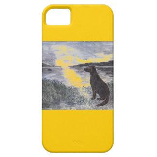 Cão e seascape em casos de sunset.iphone capa barely there para iPhone 5