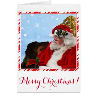 Cão engraçado, bonito do Doberman, cartão de Natal