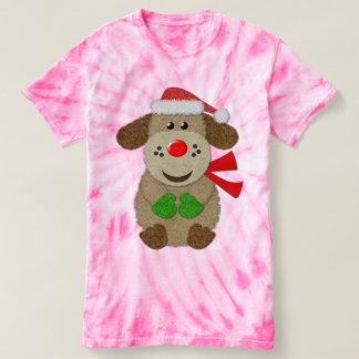 Cão festivo bonito de feltro do falso t-shirts