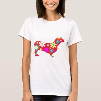 Cão floral Funky do dachshund Camiseta