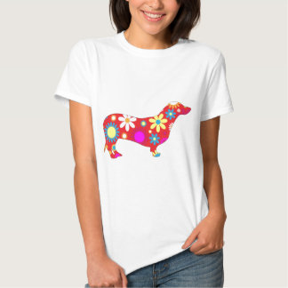 Cão floral Funky do dachshund Camisetas
