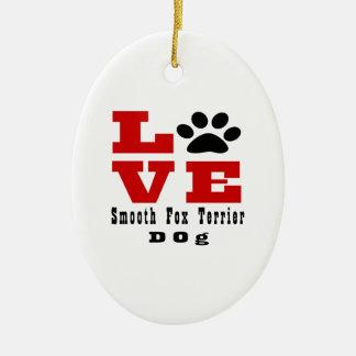 Cão liso Designes do Fox Terrier do amor Ornamento De Cerâmica Oval