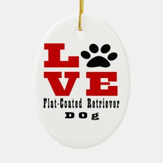 Cão Liso-Revestido Designes do Retriever do amor Ornamento De Cerâmica Oval