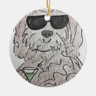 Cão martini de Havanese Ornamento De Cerâmica Redondo