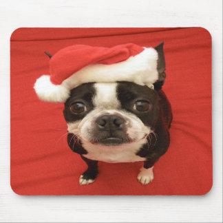 Cão Mousepad de Boston Terrier Papai Noel