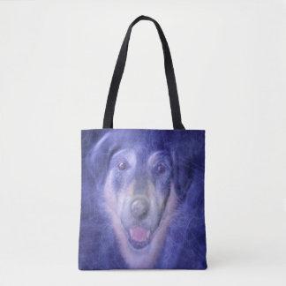 Cão no fumo azul bolsa tote