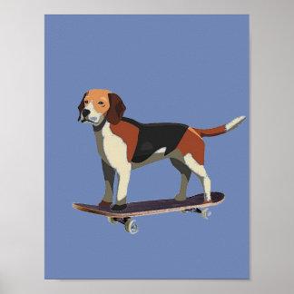Cão no skate, lebreiro, poster da sarja de Nimes