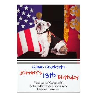 Cão oficial da mascote do marinho do buldogue convite 12.7 x 17.78cm