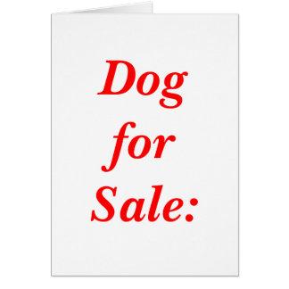 Cão para a venda: cartão comemorativo