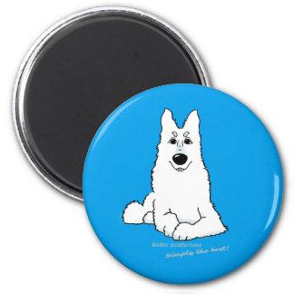 Cão pastor branco estado ímã redondo 5.08cm