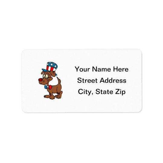 Cão patriótico etiqueta de endereço
