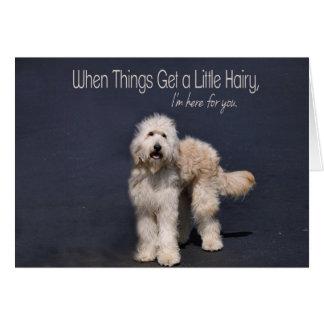 Cão peludo: Cartão do apoio da amizade