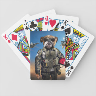 Cão piloto, buldogue engraçado, buldogue jogo de carta