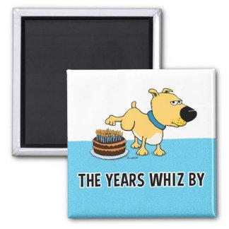 Cão que faz xixi no bolo de aniversário: Anos do Ímã Quadrado