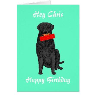 Cão que guardara o presente de aniversário cartao