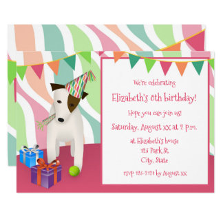 cão que veste a festa de aniversário da menina do convite 12.7 x 17.78cm