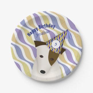 cão que veste o aniversário do menino do chapéu do
