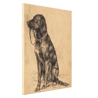Cão só que guardara sua própria trela, tinta da impressão em tela
