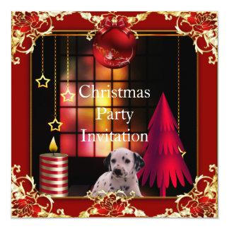 Cão vermelho Dalmation da festa de Natal do Convite Quadrado 13.35 X 13.35cm