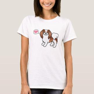 Cão vermelho e branco dos desenhos animados de camiseta