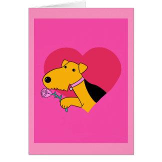 Cão w de Airedale Terrier cor-de-rosa & cartão do