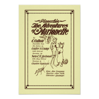 Capa 1904 de Pinocchio do vintage Impressão