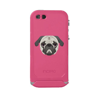 Capa À Prova D'água Para iPhone SE/5/5s A ilustração persegue o Pug da cara
