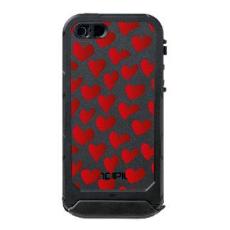 Capa À Prova D'água Para iPhone SE/5/5s Amor vermelho pintado teste padrão do coração da