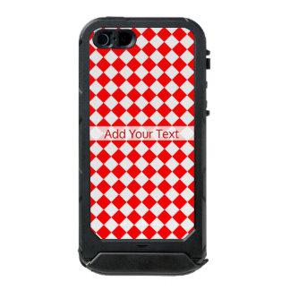 Capa À Prova D'água Para iPhone SE/5/5s Teste padrão vermelho e branco do diamante por