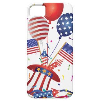 Capa Barely There Para iPhone 5 4 de julho o chapéu Balloons foguetes da bandeira
